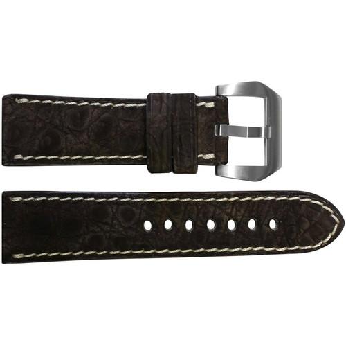 24mm Mocha Padded Nubuk Alligator (Flank) Watch Strap with White Stitching | OEMwatchbands.com