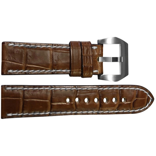 24mm Cognac Padded Classic Matte Alligator Watch Strap with White Stitching | OEMwatchbands.com