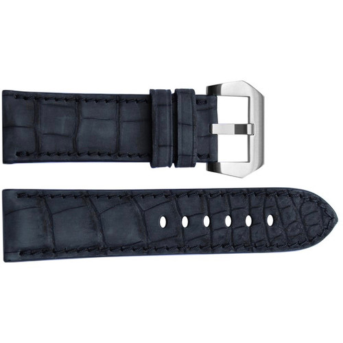24mm Black Padded Nubuk Alligator Watch Strap with Match Stitching | OEMwatchbands.com