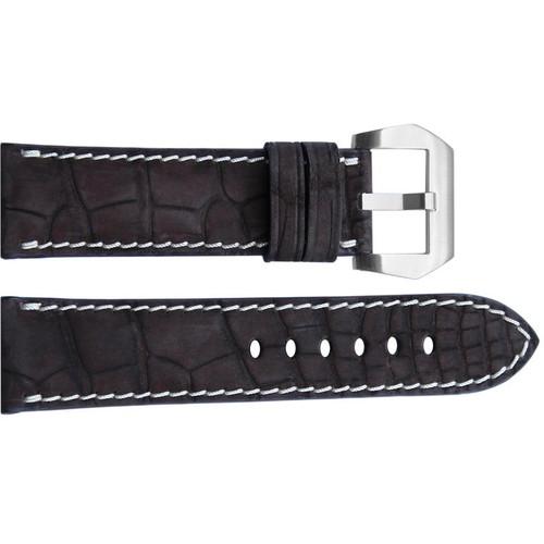 24mm Mocha Padded Nubuk Alligator Watch Strap with White Stitching | OEMwatchbands.com