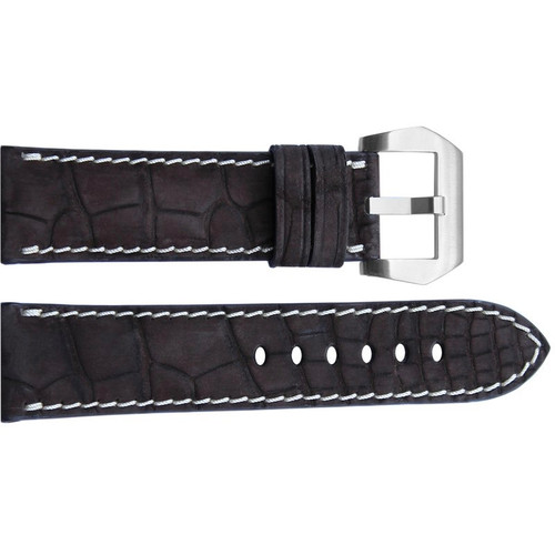 24mm Mocha Padded Nubuk Alligator Watch Strap with White Stitching | OEMwatchbands.com