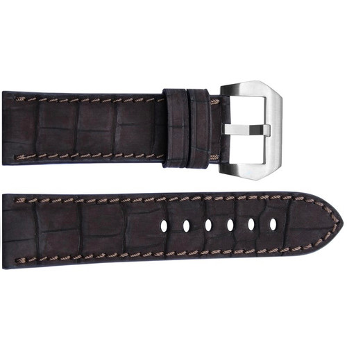 24mm Mocha Padded Nubuk Alligator Watch Strap with Match Stitching | OEMwatchbands.com