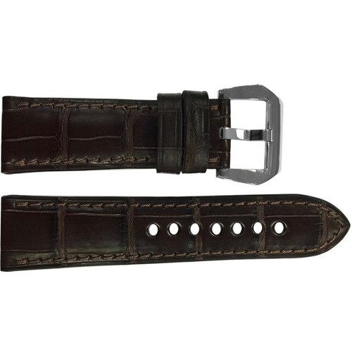 24mm Mocha Padded Matte Alligator Watch Strap with Match Stitching | OEMwatchbands.com