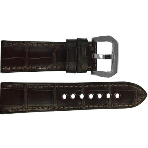 24mm Mocha Padded Matte Alligator Watch Strap with Match Stitching | OEMwatchbands.com