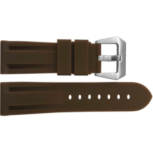 24mm Dark Khaki Waterproof Rubber Diver Watch Strap For Panerai | OEMwatchbands.com