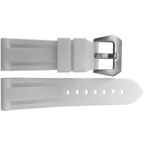 24mm White Waterproof Rubber Diver Watch Strap For Panerai | OEMwatchbands.com