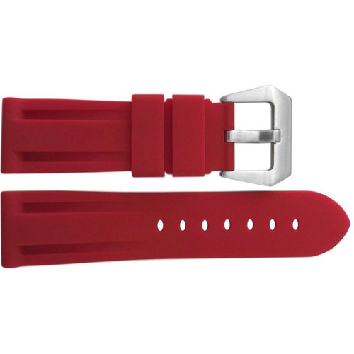 24mm Red Waterproof Rubber Diver Watch Strap For Panerai   OEMwatchbands.com