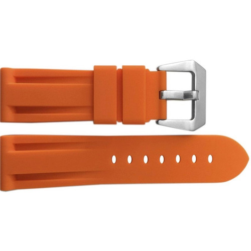 24mm Orange Waterproof Rubber Diver Watch Strap For Panerai | OEMwatchbands.com