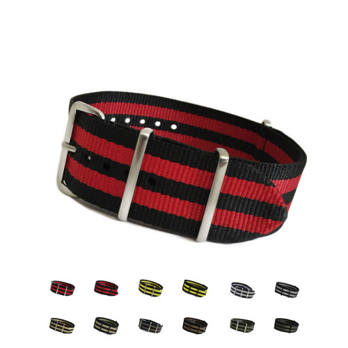 4-Square Ring Ballistic Nylon Waterproof Watch Strap with Double Stripe | OEMwatchbands.com