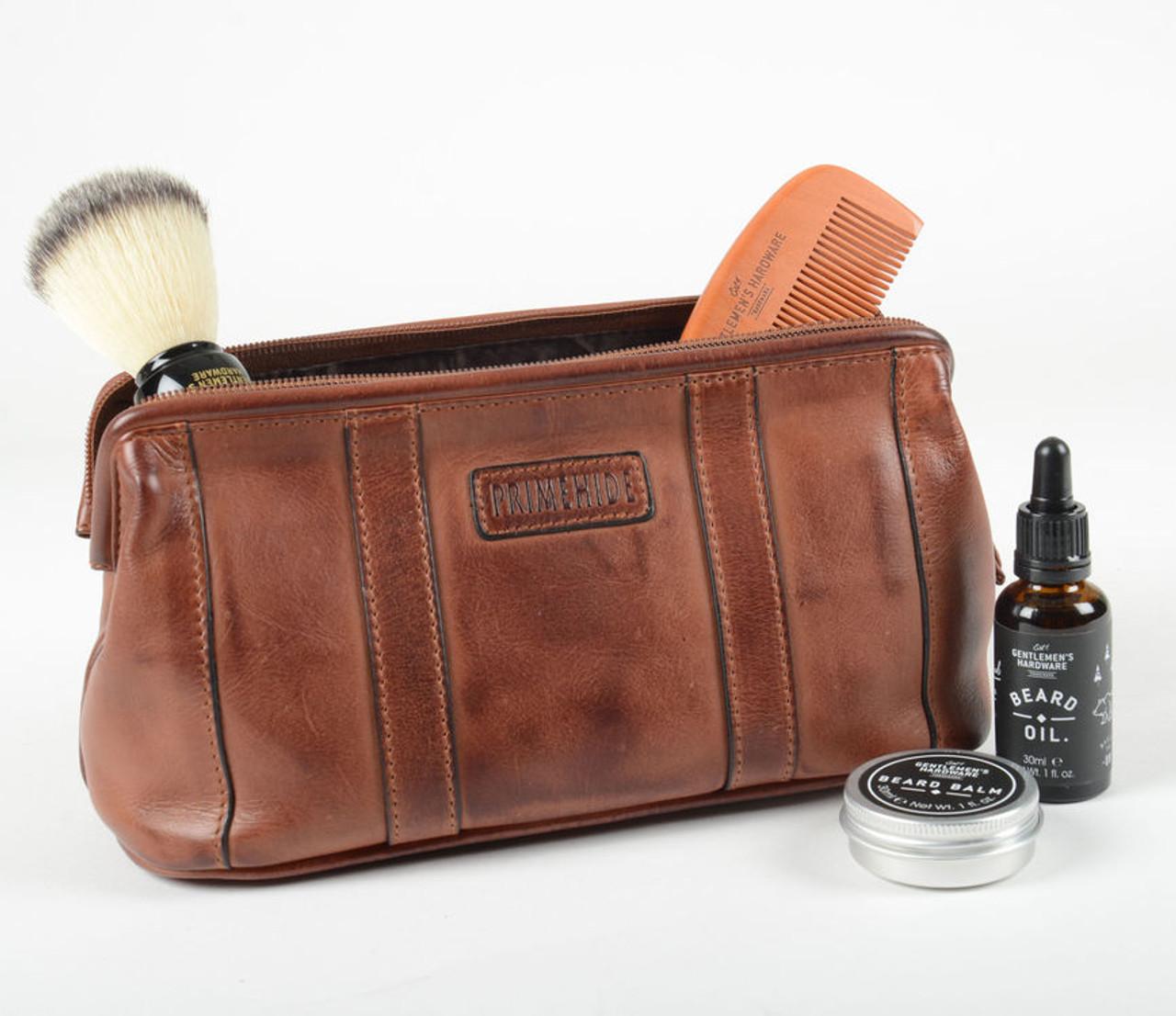 Prime Hide Ridgeback Brown Leather Toiletry Wash Bag 14bf93247a052