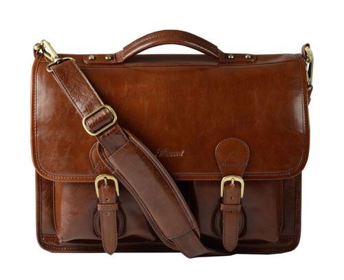 Ashwood Chestnut Leather Satchel Briefcase