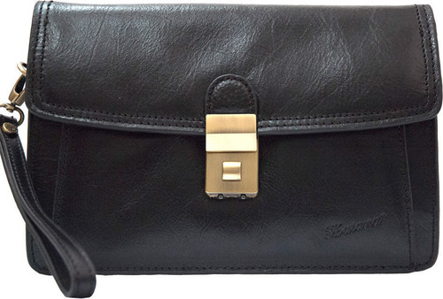 Katana Leather Black Combination Men's Wrist Clutch Bag