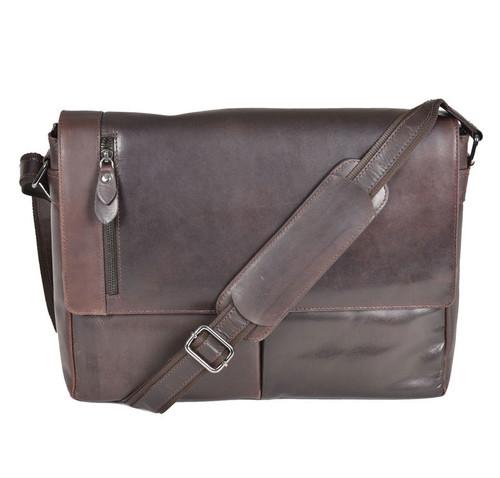 Cotehele Prestige Brown Leather Messenger Bag