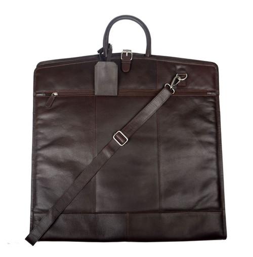 Cotehele Antique Brown Leather Suit Carrier