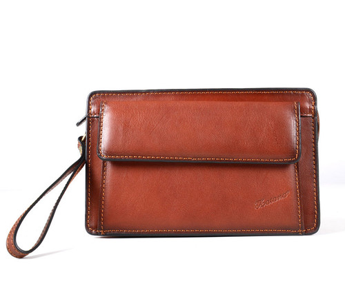 Katana Tan Leather Flap Wrist Clutch Bag