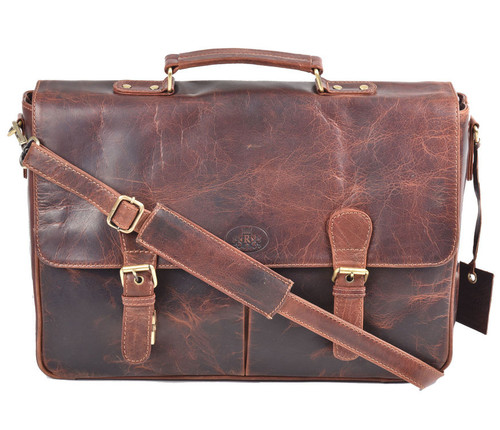 Rowallan Cedarwood Cognac Leather Top Handle Briefcase