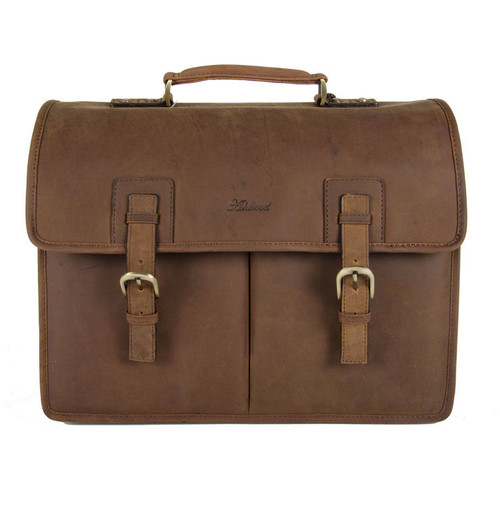 Ashwood Mud Brown Gareth Heavy Duty Leather Laptop Briefcase