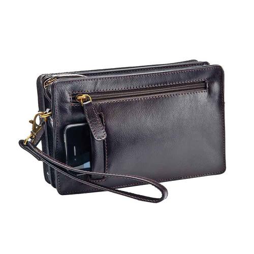 Prime Hide Men's Black Leather Clutch Bag