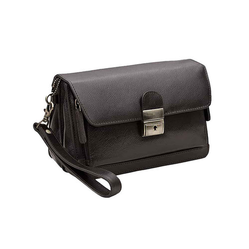 Prime Hide Men's Wrist Black Leather Clutch Bag