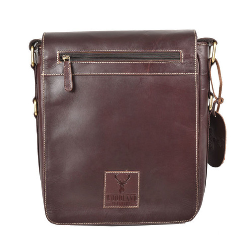 Burnish Brown Buffalo Leather Portrait Messenger Bag
