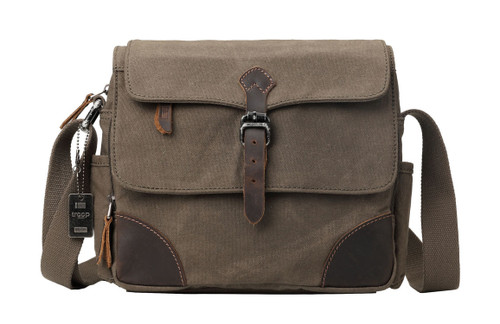 Troop London Heritage Canvas Tablet Size Olive Messenger Bag
