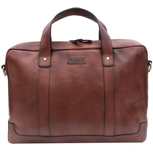 Prime Hide Ridgeback Luxury Brown Leather Briefcase