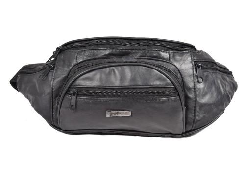 Woodland Leathers Black Pouch Bum Bag
