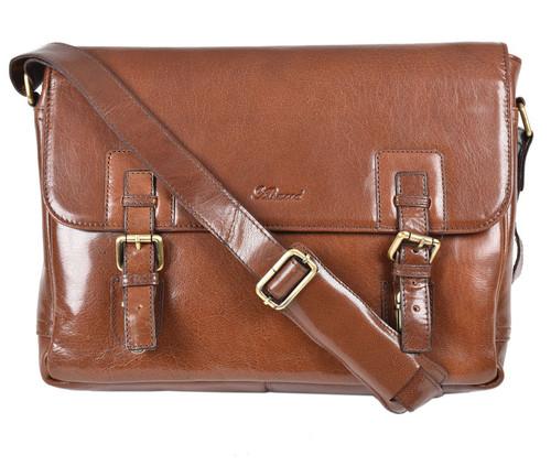 Ashwood Chelsea Jasper Double Clasp Chestnut Leather Laptop Satchel