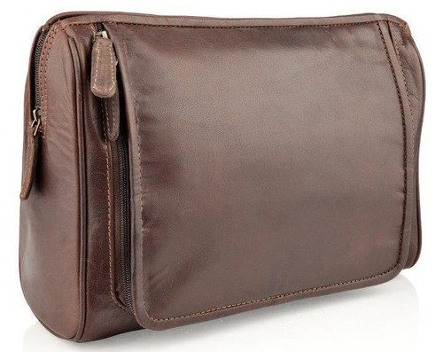 Woodland Leathers Burnish Brown Buffalo Brown Leather Wash Bag