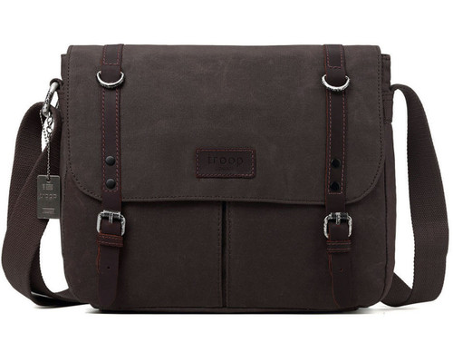 Troop Heritage Canvas Leather Brown Messenger Bag