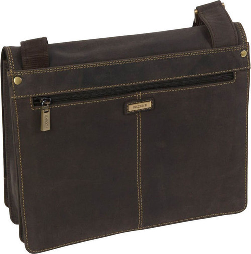 Visconti Leather A5 iPad/Tablet Messenger Bag - Dark Brown