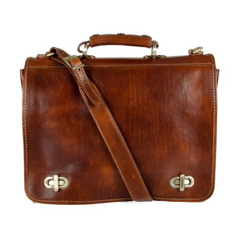 Delamore Brown Leather Messenger Bag