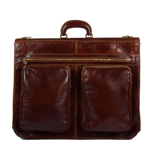 Delamore Brown Leather Premium Suit Carrier