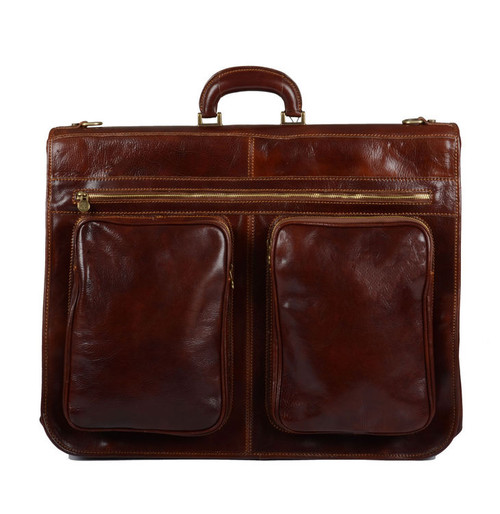 Delamore Brown Leather Premium Suit Carrier