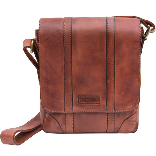 Prime Hide Ridgeback Luxury Brown Leather Small Messenger Bag