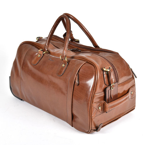 Ashwood Chelsea Albert Wheeled Chestnut Leather Travel Holdall