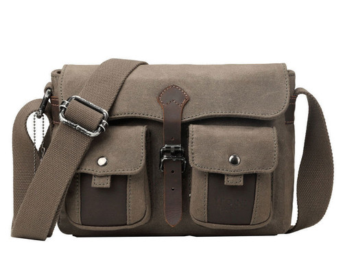 Troop London Heritage Olive Canvas Small Messenger Bag