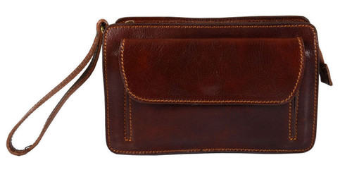 Delamore Brown Leather Wrist Clutch Bag