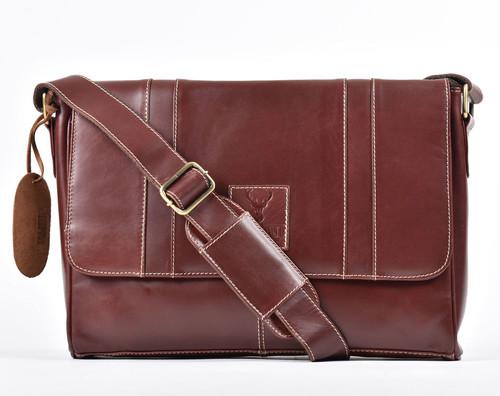 Burnish Brown Buffalo Leather Messenger Bag