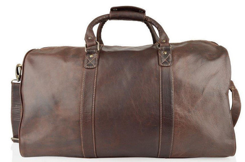 Woodland Leathers Burnish Brown Buffalo Leather Holdall