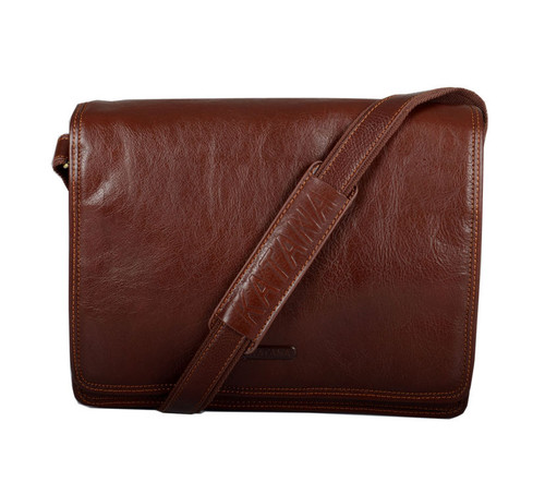 Katana Brown Leather Two Section Messenger Bag