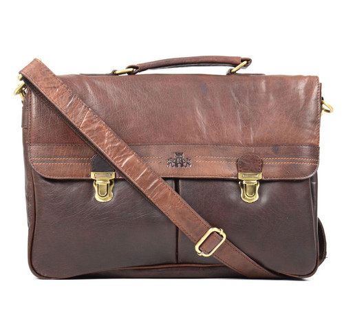 Rowallan Brown Classic Soft Leather Briefcase