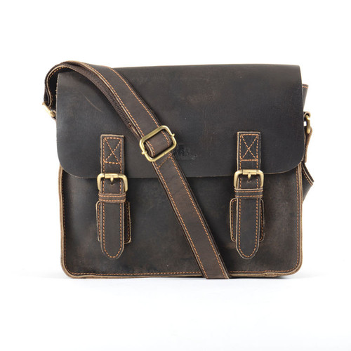 Rowallan Craftsman Medium Brown Leather Twin Buckle Satchel