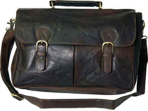 Rowallan Brown Distressed Leather Laptop Briefcase
