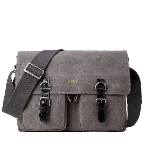 Troop London Large Canvas Black Messenger Bag