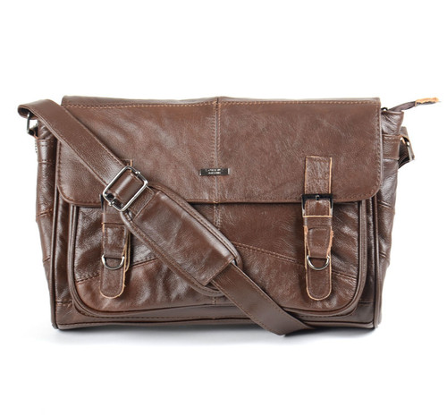 Woodland Leathers Lorenz Leather Brown Messenger Bag