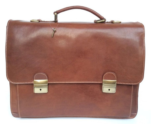 Delamore Executive Leather Brown Business Briefcase