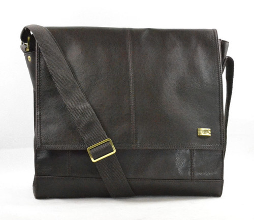 Storm Abbey Brown Faux-Leather Despatch Messenger Bag