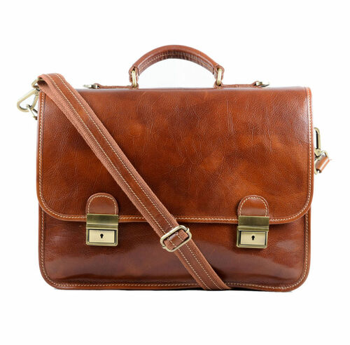 Delamore Tan Leather Briefcase