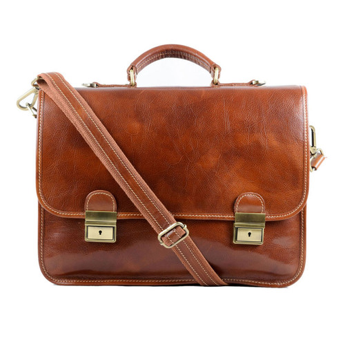 Delamore Tan Leather Briefcase
